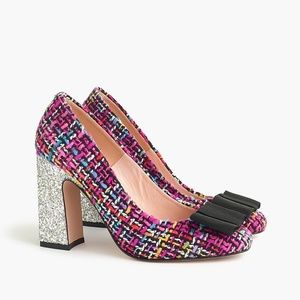 J. Crew Harlow glitter tweed pumps heels EUC